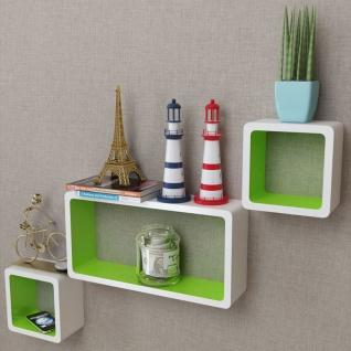 3er Set MDF Cube Regal Hängeregal Wandregal für Bücher/DVD, weiß-grün