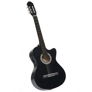 vidaXL Western Akustik Cutaway Gitarre mit Equalizer 6 Saiten Schwarz