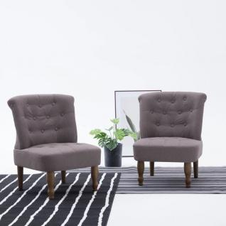 vidaXL Französische Stühle 2 Stk. Taupe Stoff