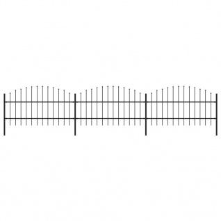 vidaXL Gartenzaun mit Speerspitzen (0, 75 - 1) x 5, 1 m Stahl Schwarz