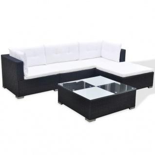 vidaXL 5-tlg. Garten-Lounge-Set mit Auflagen Poly Rattan Schwarz - Vorschau 4