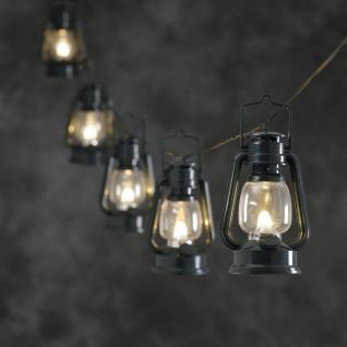 KONSTSMIDE Laternen-Lichterkette mit 8 Lampen Grün Warmweiß