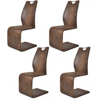 vidaXL Esszimmerstühle 4 Stk. Braun Kunstleder