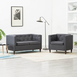 vidaXL Chesterfield Sofa-Set 2-tlg. Stoffpolsterung Dunkelgrau