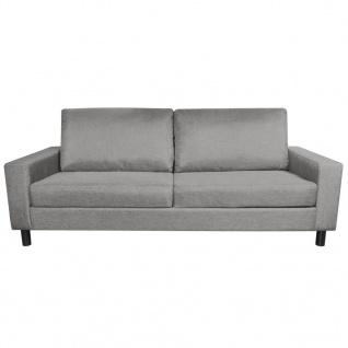 vidaXL 3-Sitzer-Sofa Hellgrau Stoff - Vorschau 3