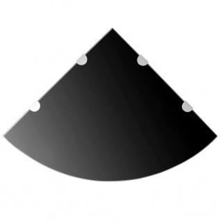 vidaXL Eckregal mit verchromten Halterungen Glas Schwarz 45 x 45 cm