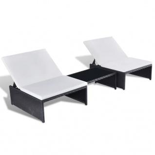 vidaXL Doppel-Liegestuhl 2-Sitzer 5-tlg. Poly Rattan Schwarz