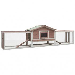 vidaXL Kaninchenstall Mokka 303x60x86 cm Kiefer & Tanne Massivholz