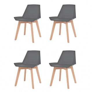vidaXL Esszimmerstühle 4 Stk. Grau Kunststoffsitz Buchenholzbeine