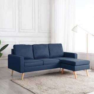 vidaXL 3-Sitzer-Sofa mit Hocker Blau Stoff