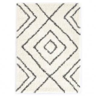 vidaXL Berberteppich Hochflor PP Beige und Grau 140 × 200 cm