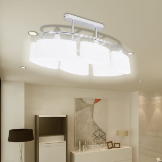 vidaXL Deckenlampe mit ellipsenförmigen Glasschirmen 4 Stk. E14