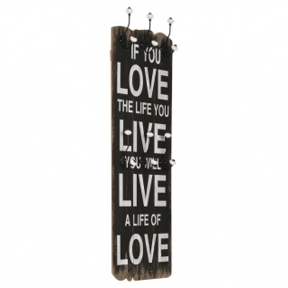 "vidaXL Wandgarderobe mit 6 Haken 120 x 40 cm "" LOVE LIVE"""
