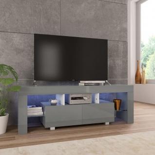 vidaXL TV-Schrank mit LED-Leuchten Hochglanz-Grau 130 x 35 x 45 cm