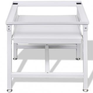 vidaXL Untergestell für Waschmaschine mit Ausziehablage Weiß - Vorschau 4