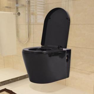 vidaXL Wandmontierte Toilette Keramik Schwarz