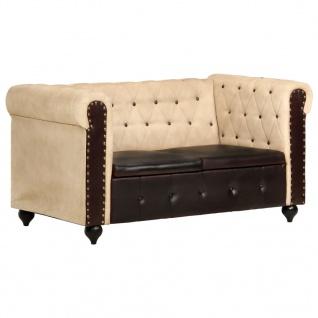 vidaXL Chesterfield-Sofa 2-Sitzer Braun Echtleder