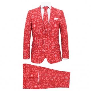 vidaXL 2-tlg. Herren Weihnachtsanzug mit Krawatte Gr. 46 Rot