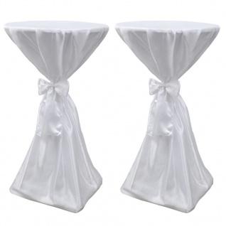 2 x Tischhusse Stehtischhusse weiß 60 cm