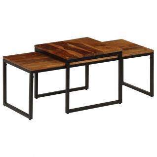 vidaXL Couchtisch-Set 2 Stück Massiv Sheesham-Holz und Stahl