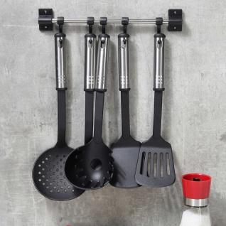 HI 6-tlg. Küchenutensilien-Set Schwarz und Silbern