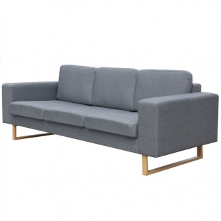 vidaXL 3-Sitzer Sofa Stoff Hellgrau