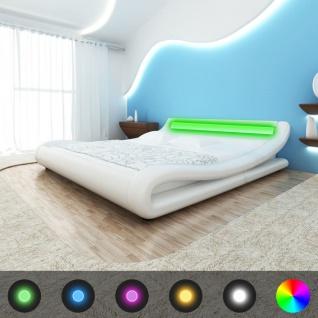 vidaXL Bett mit LED Matratze Kunstleder 140x200 cm Curl Weiß