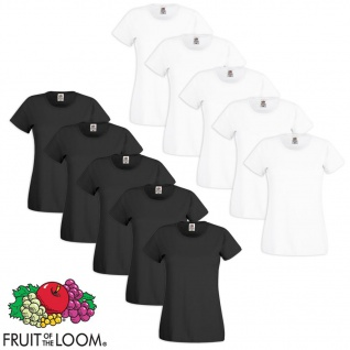 Fruit of the Loom Damen T-Shirt 10 Stk. Baumwolle Weiß/Schwarz L