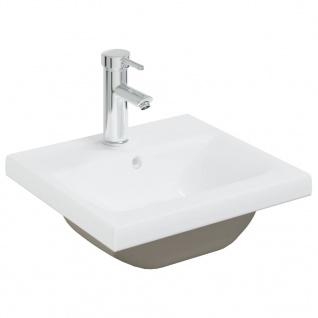 vidaXL Einbauwaschbecken mit Wasserhahn 42x39x18 cm Keramik Weiß