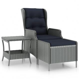 vidaXL 2-tlg. Garten-Lounge-Set mit Auflagen Poly Rattan Hellgrau