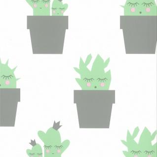Fabulous World Tapete Cactus Weiß und Grün 67102-2