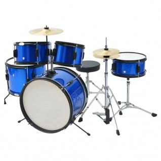 vidaXL Schlagzeug Komplettset Pulverbeschichteter Stahl Blau Junior