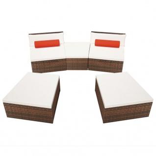 vidaXL 5-tlg. Garten-Lounge-Set mit Auflagen Poly Rattan Braun - Vorschau 5
