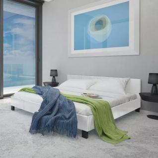 vidaXL Bett mit Matratze 140×200 cm Kunstleder Weiß
