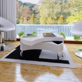 Couchtisch Kaffeetisch Formverstellbar Hochglanz Design weiß