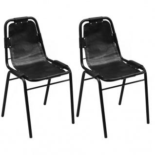 vidaXL Esszimmerstühle 2 Stk. 49x52x88 Schwarz Echtleder