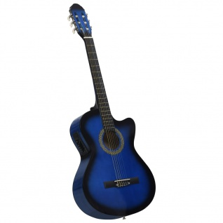 vidaXL Western Akustik Cutaway Gitarre mit Equalizer 6 Saiten Blau