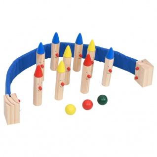 vidaXL Bowlingspiel Mehrfarbig Kiefer Massivholz
