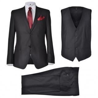 Business Anzug für Herren 3-teilig Schwarz Gr. 50
