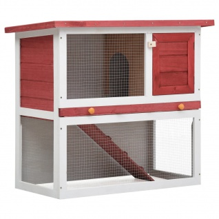 vidaXL Kaninchenstall 1 Tür Rot Holz