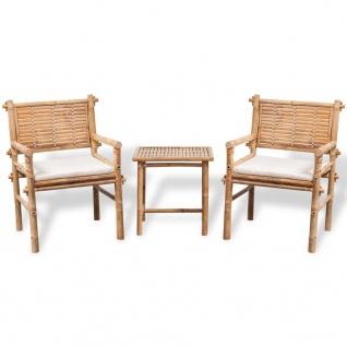 vidaXL Bistro-Set mit Beistelltisch und Sitzkissen Bambus - Vorschau 1
