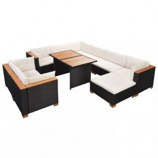 vidaXL 10-tlg. Garten-Lounge-Set mit Auflagen Poly Rattan Schwarz - Vorschau 3