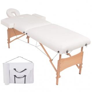 vidaXL Massageliege 2 Zonen Tragbar 10 cm Polsterung Weiß