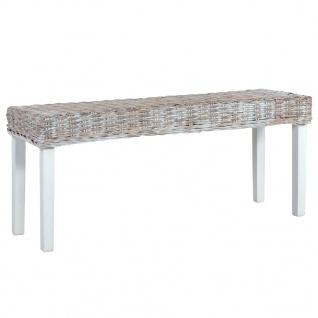 vidaXL Sitzbank 110 cm Weiß Natur Kubu-Rattan und Massivholz Mango