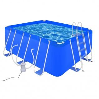 Schwimmbecken mit Leiter und Pumpe Komplett-Set 400 x 207 x 122 cm Stahl