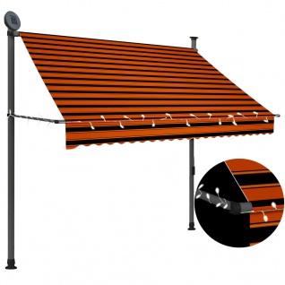 vidaXL Einziehbare Markise Handbetrieben mit LED 200 cm Orange Braun