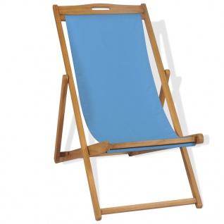 vidaXL Liegestuhl Teak 56×105×96 cm Blau