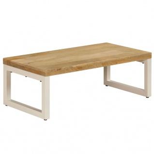 vidaXL Couchtisch 110 x 50 x 35 cm Mango-Massivholz und Stahl