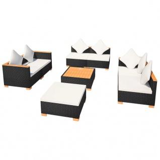 vidaXL 8-tlg. Garten-Lounge-Set mit Auflagen Poly Rattan Schwarz - Vorschau 4