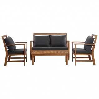 vidaXL 4-tlg. Garten-Lounge-Set mit Auflagen Massivholz Akazie